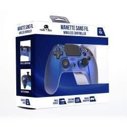 MANETTE SANS FIL BLUE METAL POUR PS4 AVEC PRISE JACK POUR CASQUE ET BOUTONS LUMINEUX