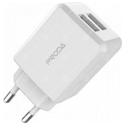 ADAPTATEUR SECTEUR DOUBLE USB PRODA BLANC PD-A28